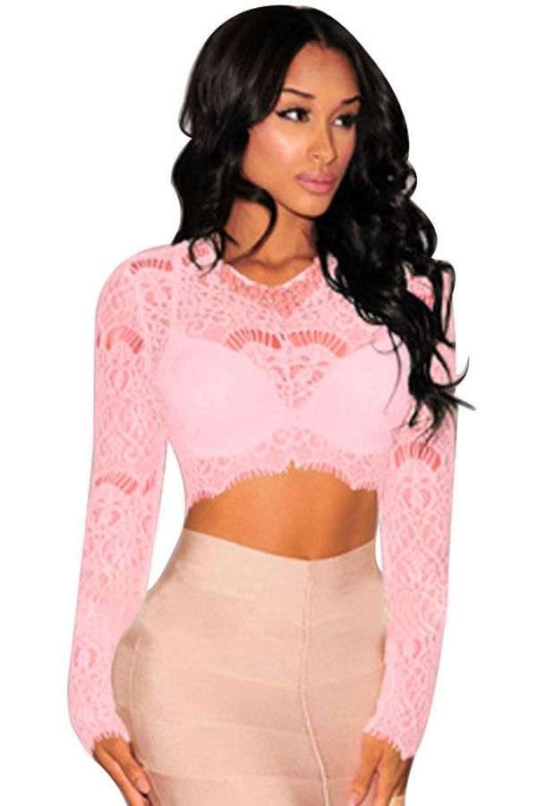 Prix: €8.79 Hauts Courts Lace Sheer Rose Manches Longues Top Pas Cher www.modebuy.com @Modebuy #Modebuy #Rose #sexy #me