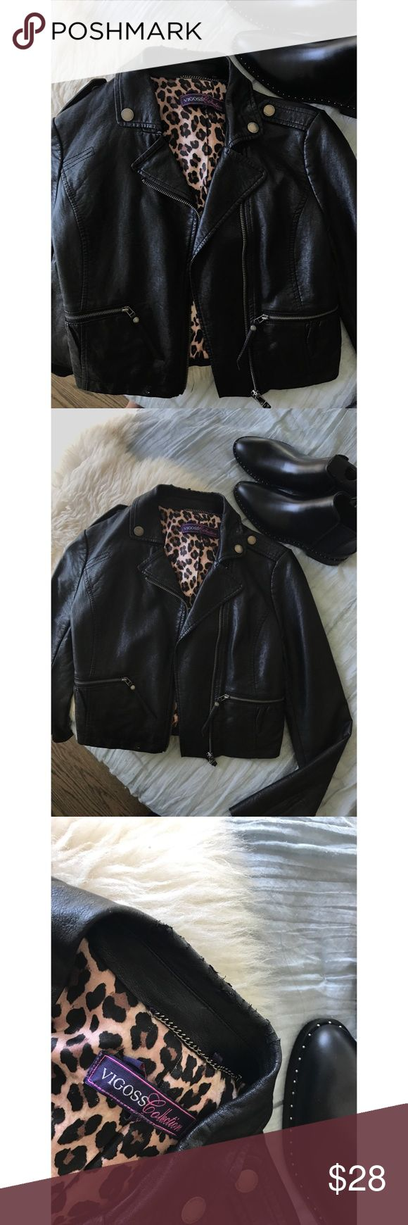Vigoss Collection faux biker/moto leather jacket Bought it at Bloomingdales. There is some peeling on the collar of the jacket (see 3rd pic), but not noticeable when on. Free ship on Merc Vigoss Jackets & Coats
