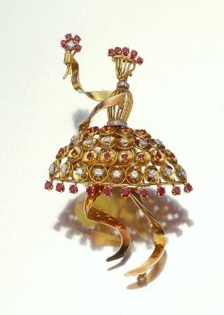 Retro Figural Ballerina Brooch