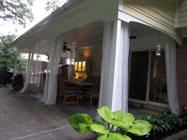 Patio Curtains Ideas could make there with mosquito net for the back porch!