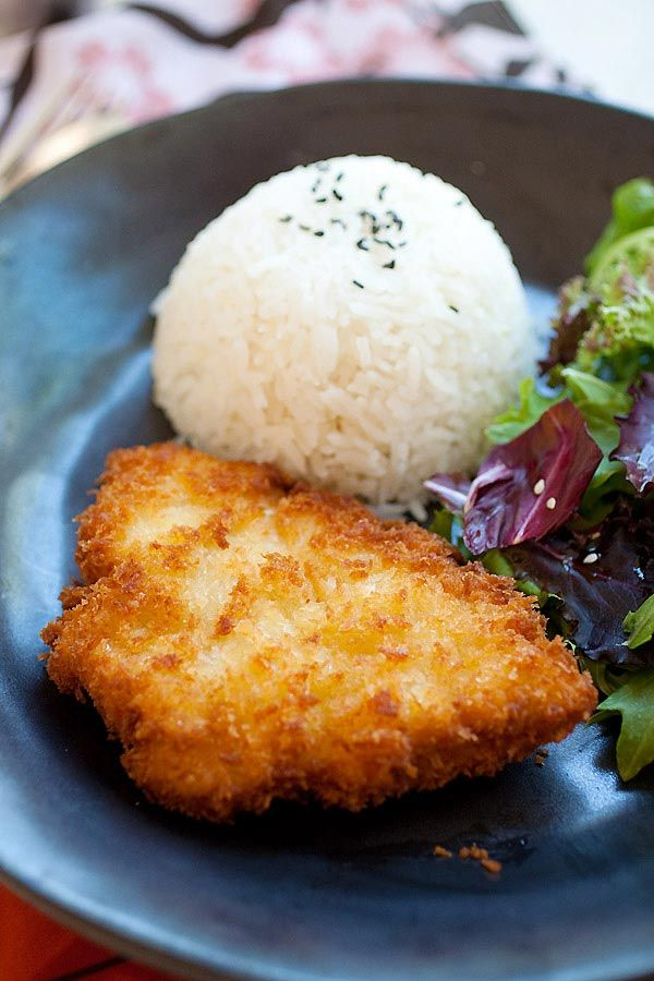 Chicken Katsu is Japanese fried chicken cutlet with bread crumbs/panko. Easy chicken katsu recipe, served with Tonkatsu sauce | rasamalaysia.com