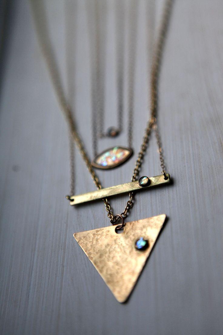Opal gold bar necklace