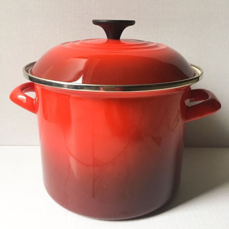Le Creuset 6Qt Covered Stockpot Enamel On Steel Cooking Pot Cherry Red Unused #LeCreuset