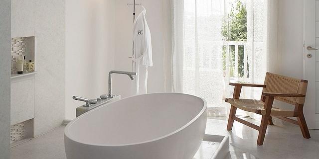 Belvedere Bathroom, Suite at Belvedere Hotel, Mykonos