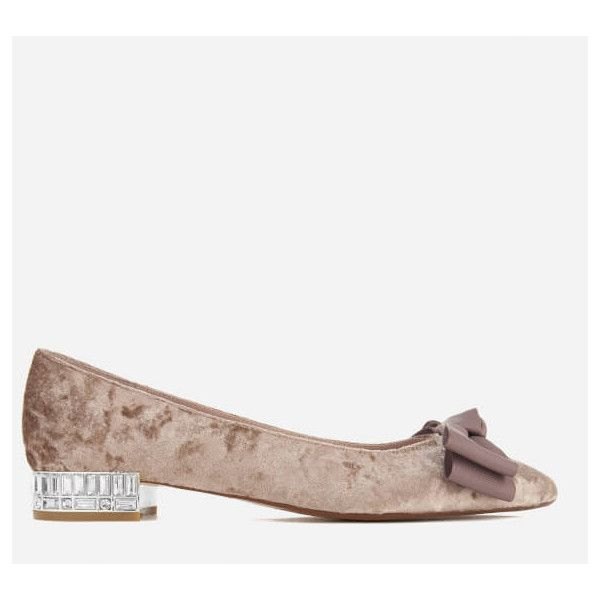 Dune Women's Bow Bela Velvet Pointed Flat Shoes (€87) ❤ liked on Polyvore featuring shoes, flats, grey, pointy-toe flats, flat shoes, bow ballet flats, ballet pumps and pointy toe flats