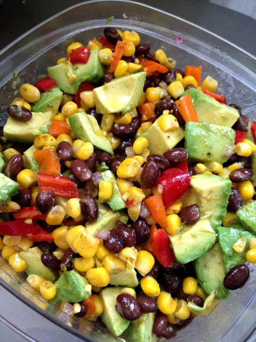 Guacamole Salad: 1 yellow bell pepper, seeded and diced 1 red bell pepper, seeded and diced 1 (15 oz) can black beans, rinsed and drained 1 (11 oz) can corn, rinsed and drained 1/4 cup diced red onion 1 minced jalapeño pepper, ribs and seeds removed (optional)1 tablespoon fresh cilantro (optional) 2 teaspoons freshly grated lime zest (2 limes)2 avocados, diced juice of one lime
