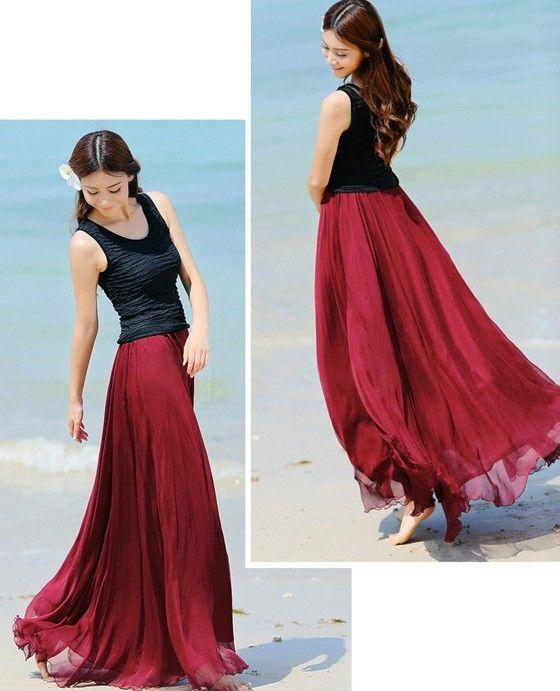 Wine Red Plain Draped Wavy Edge Pleated Elastic Waist Floor Length Bohemian Chiffon Skirt - Skirts - Bottoms