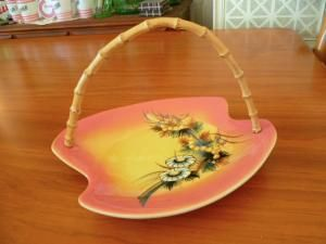 Decor pottery wattle platter with bamboo handle.
