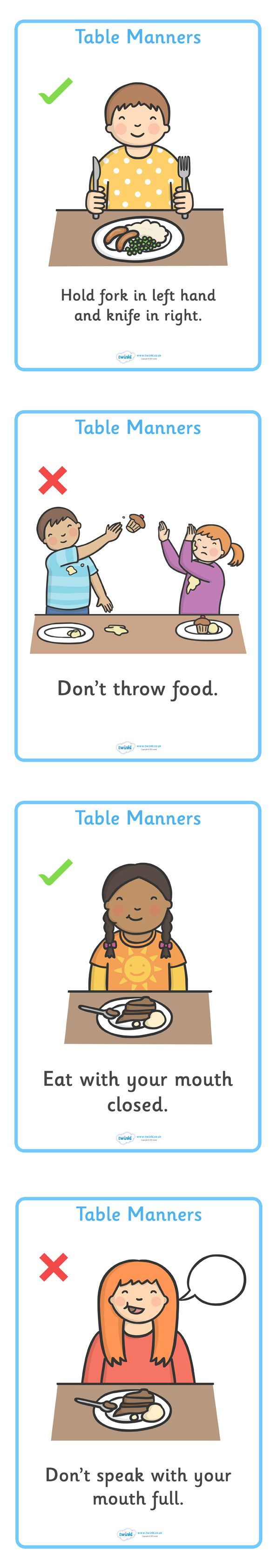 Twinkl Resources >> Table Manners Rules- Display Chart  >> Classroom printables for Pre-School, Kindergarten, Elementary School and beyond! Posters, Display, Behavior, Class Management
