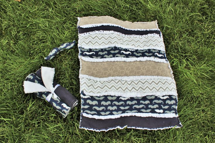 Navy Mustache Baby Gift Set - Quilt, Rattle and 2 Burp Cloths by BabyBazerk on Etsy