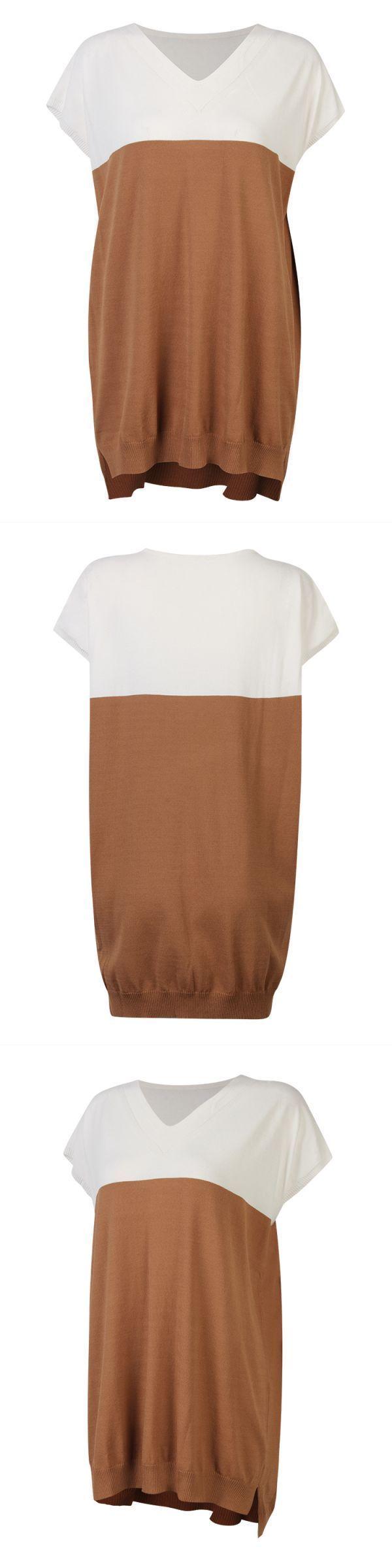 Women short sleeve v-neck knit pullover loose patchwork shirt dress hanes women#8217;s t shirts #3 #4th #sleeve #t #shirts #womens #polo #t #shirts #womens #online #roadkilltshirts #girl #model #womens #kiss #t #shirts