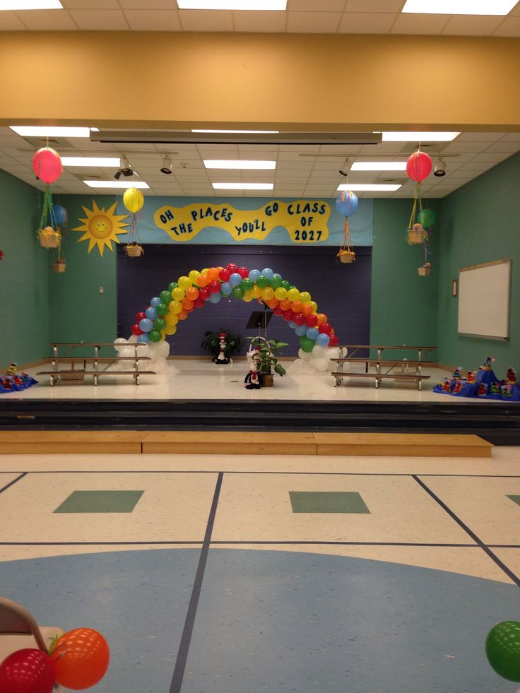 Pre k graduation...oh the places you'll go...with rainbow balloon arch