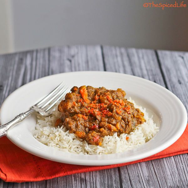 A traditional West Indian Goat Curry made with beef, sweet potatoes and coconut milk