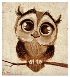 On craque devant ces grands yeux de petit hibou ! By Owl drawing / Gufo, disegno