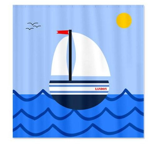 Sailboat Personalized Kids Shower Curtain by HappywoodGoods,