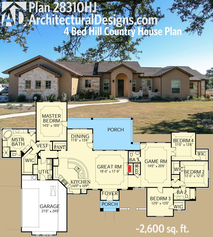 Plan 28310HJ: Exciting Hill Country Ranch Home
