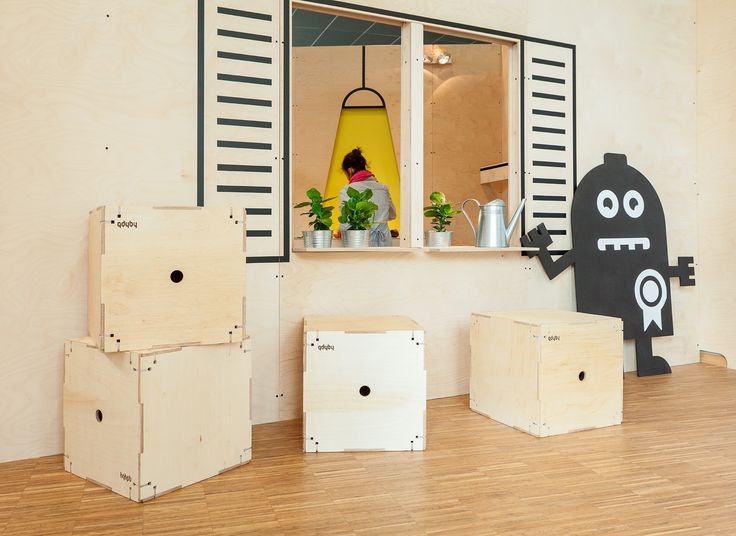 """THE ACADEMY OF MR TECHNIC"" project for Gdynia Design Days 2015. An interactive exhibition and workshop designed as a home of Mr Technic, mostly for children, which connects science, experiments and fun. / plywood minimal design exhibition installation gdyby kubik / designed by Grupa Gdyby / fot. szajewski.com"