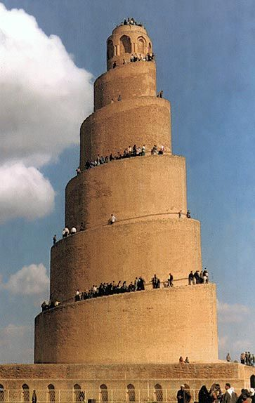 Samarra Iraq - 1 of largest ancient city in the whole world. A dominating, magnificent structure that was once the largest mosque in the Islamic world built by Caliph Al-Mutawakkil in 852 AD using bricks and clay.The Mosque's minaret is the famous Spiral (Al-Malweyya 52 m high on the northern side). Some historians believe that it pre-dates the Mosque and that Caliph Al-Mu'tasim built it.