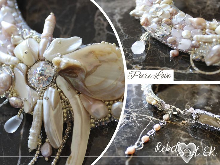 """OOAK artisan jewelry, rose quartz and natural white pearls statement necklace """"PURE LOVE"""""""