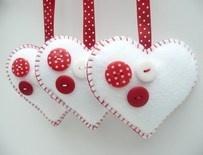 Buttony Heart Felt Decorations - set of 3