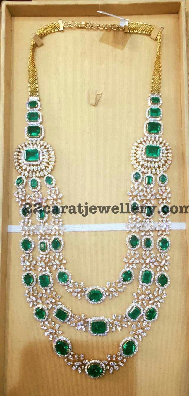 Diamond Emerald Three Layer Necklace
