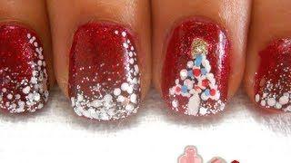 Glitter Christmas Nails - Uñas Navideñas con Brillantina, via YouTube.