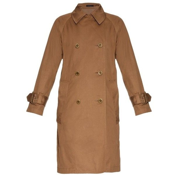 Yohji Yamamoto Regulation Contrast Back Double Breasted Trench Coat ($604) ❤ liked on Polyvore featuring outerwear, coats, double-breasted trench coats, brown coat, double-breasted coat, trench coat and brown trench coat