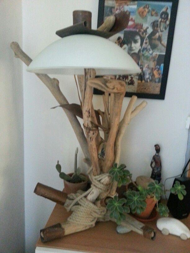 Lampade di autore Lampada creata con legni di mare corde e rame