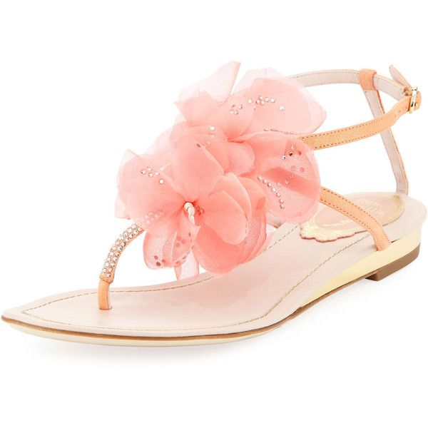 Rene Caovilla Floral Crystal T-Strap Sandal ($200) ❤ liked on Polyvore featuring shoes, sandals, coral, flat shoes, flat pumps, ankle strap flat shoes, ankle wrap flats and ankle strap sandals