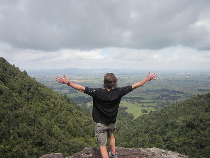 View from the top of Wairere Falls, Matamata over looking the Waikato Basin and Hauraki Plains, New Zealand