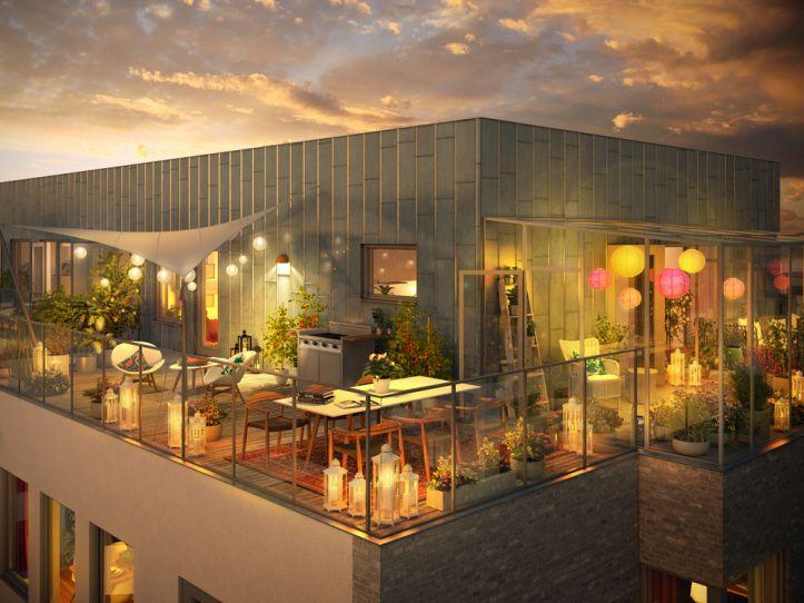 Balkongerna i Brf Vingården är extra generösa. Vill du ha ännu mer plats rekommenderar vi att du flyttar in i ett penthouse med terrass på 8...