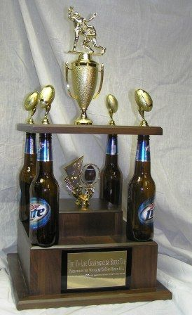 Four Beer Bottle Winner's Fantasy Football Trophy #cheap #fantasyfootball #award     http://www.fantasytrophydepot.com/?goods=quad-beer-bottle-fantasy-football-trophy