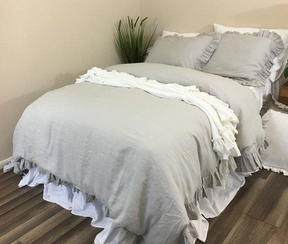 Stone Grey Duvet Cover Features Easy Flow Ruffles Natural Etsy In 2021 Shabby Chic Bedding Shabby Chic Furniture Gray Duvet Cover