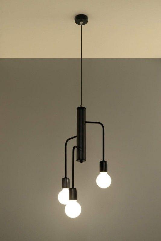 Sollux Duomo Designer Hangelampe Rund Schwarz 3 Flg E27 Hange Lampe Beleuchtung Decke Wohnraum Beleuchtung