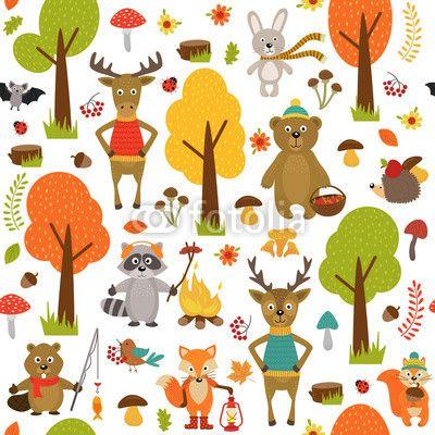 Materiał do szycia seamless pattern with animals of forest on white background- vector illustration, eps. Zobacz materiały do szycia drukowane na zamówienie autora nataka. Zamów bawełniany materiał do szycia z wzorem w bezszwowe, wzór, tapeta, tekstura, tło, zwierzę, ssak, las, las, drzewa, lis, zając, królik, szop, płowej, ełk, niedźwiedź, bóbr, wiewiórka, jeż, nietoperz, ryba, biedronkowate, liść, kwiat, grzyb, żołądź, jarzębina, jagoda, giczoł, fauna, flora, natura, ogień, dzikość…