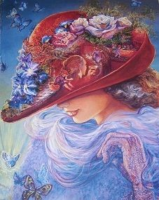"""Josephine Wall, """"Red Hat Painting"""" Please note: This THE RED HAT painting print is based on the story of the Jenny Joseph """"Warning"""" poem where Jo Wall depicted scenes of the poem sentiments in the brim. This poem created the Red Hat Society that is celebrating its 15th year Anniversary in April in Atlanta."""