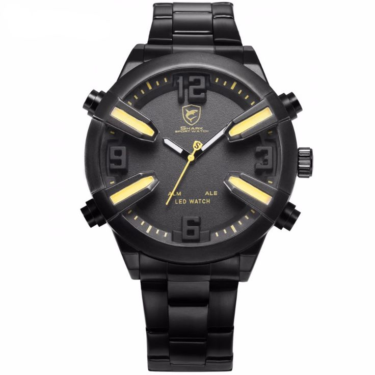 Dogfish Shark Sport Watch with Yellow Accent
