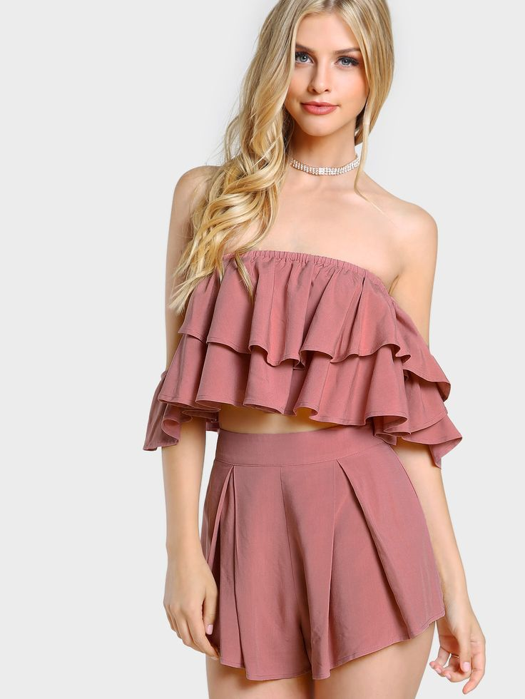 ¡Cómpralo ya!. Layered Flounce Bardot Top And Shorts Co-Ord. Shorts Pink Cotton Plain Off the Shoulder Short Sleeve Ruffle Pleated Zip Cute Sexy Vacation Fabric has no stretch Summer Two-piece Outfits. , tophombrosdescubiertos, sinhombros, offshoulders, offtheshoulder, coldshoulder, off-the-shouldertop, schulterfreiestop, tophombrosdescubiertos, topdosnu, topspallescoperte, hombrosdescubiertos. Top hombros descubiertos  de mujer   de SheIn.