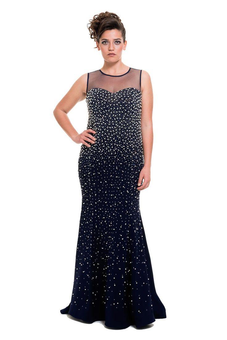 Uzun Saks Mavi Abiye Elbise O3627 | Abiyefon.com