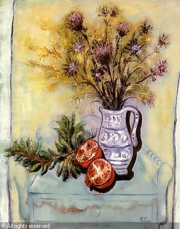 RUBIN Reuven - Bouquet of flowers with pomegranates
