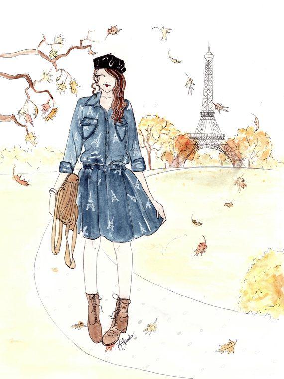 "L' Automne a Paris - 8""x10"" - Various Sizes - Wall Art - Paris Inspired - Eiffel Tower Art - Fall Leaves - French Girl - Autumn Art"