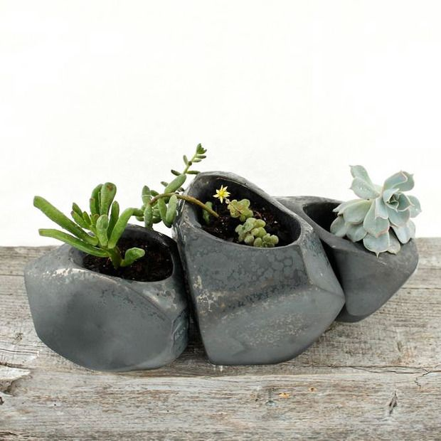 Growing Stones Succulent Planter - Set of 3 - these are sweet. Great on a desk or in a bookshelf.