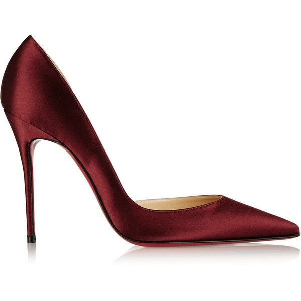 Christian Louboutin Iriza 100 satin d'Orsay pumps (€590) ❤ liked on Polyvore featuring shoes, pumps, heels, christian louboutin, footwear, high heel pumps, dorsay pump, slip on pumps, d'orsay shoes and burgundy high heel shoes