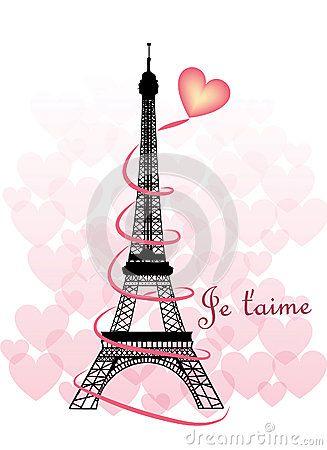 Torre Eiffel de la tarjeta del día de San Valentín