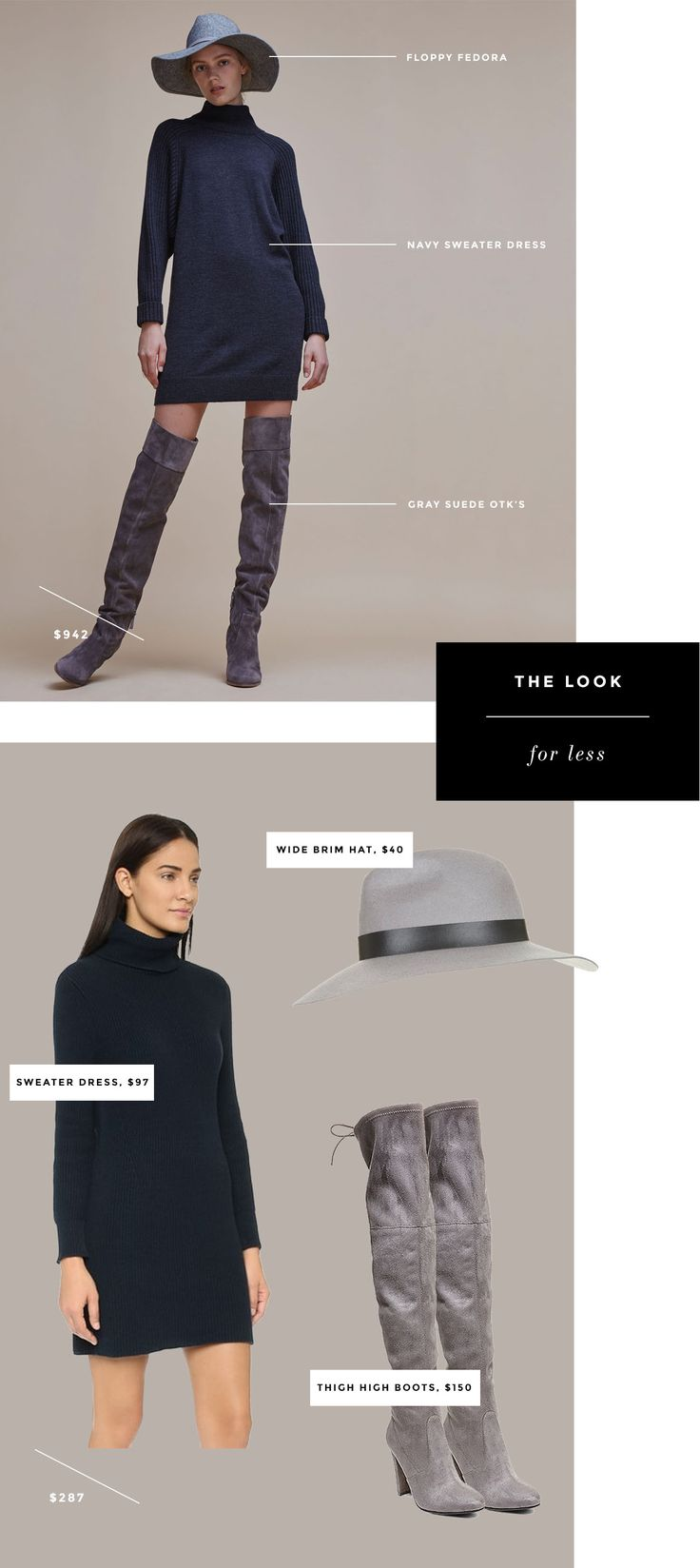 shop the look for less - navy sweater dress with suede otk boots