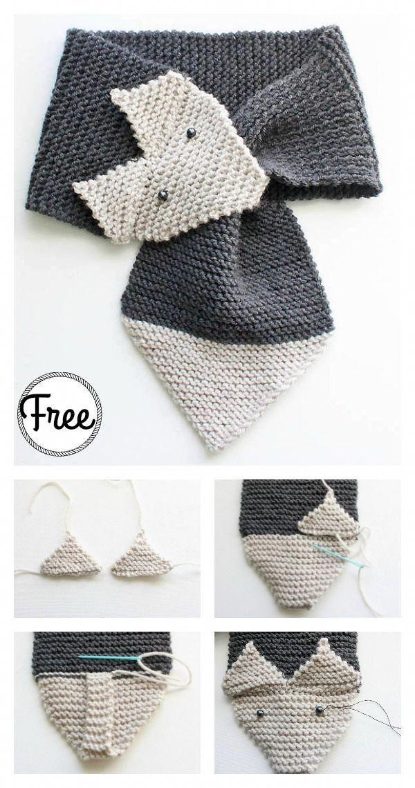 Adjustable Fox Scarf Free Knitting Pattern #freepattern #knitting ...
