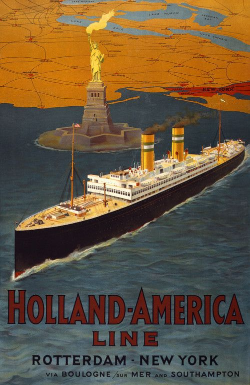 Holland-America Line. Rotterdam - New York via Boulogne/sur Mer and Southampton. This poster shows a Holland-America Line ocean liner in New York harbor. The Statue of Liberty, and a map of the northe