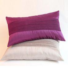 soft010,30 * 50 cm, Nova promoção chegada Handmade Stripe plissada cinza esfumaçado / seduzir Imitação de seda Travesseiro Almofada roxo(China (Mainland))