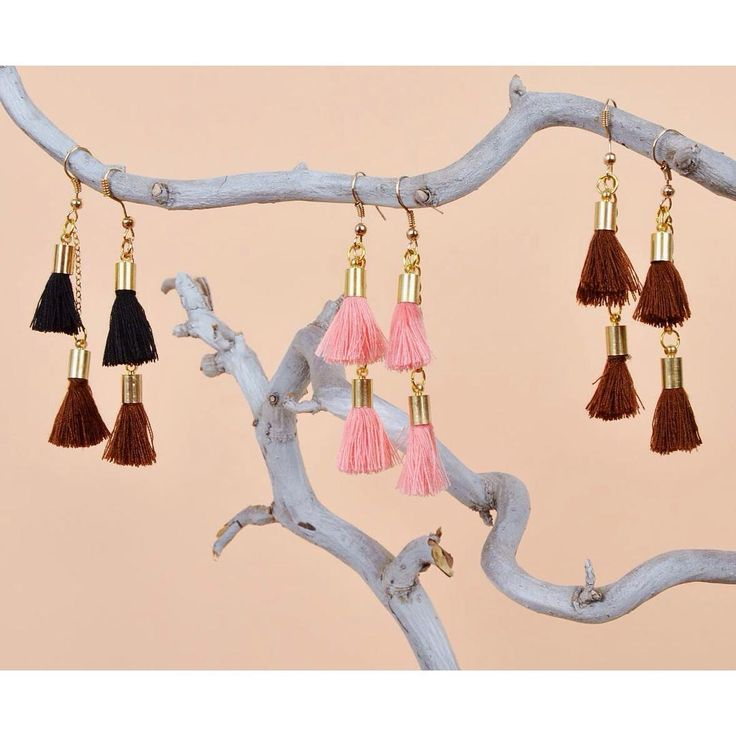 Lovely tassels fringe yarn earring collection szputnyikshop cute jewelry pastel accessories golden details bicolour boho style thread tuft