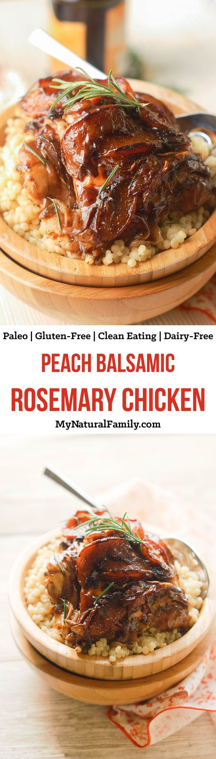 This peach balsamic rosemary chicken recipe is so easy to put together and is such an elegant combo of flavors. Fresh summer peaches and rosemary pair so well with a rich balsamic reduction.